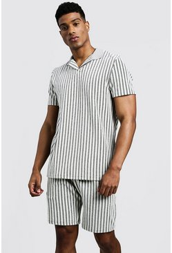 Mens Grey Towelling Stripe Revere Collar Polo & Short Set
