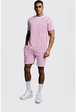 Mens Light pink Velour Stripe Short Set