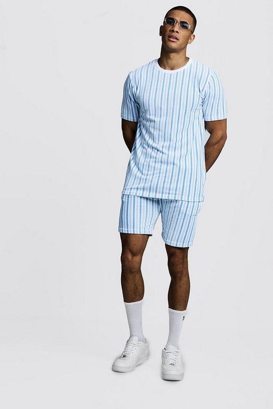 Velour Stripe Short Set by Boohoo