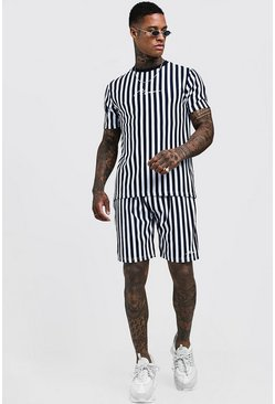 Mens Navy MAN Signature Stripe Short Set