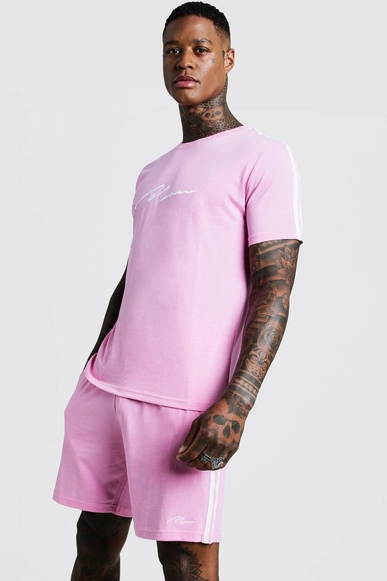 Mens Pink MAN Signature Short Set With Tape Detail