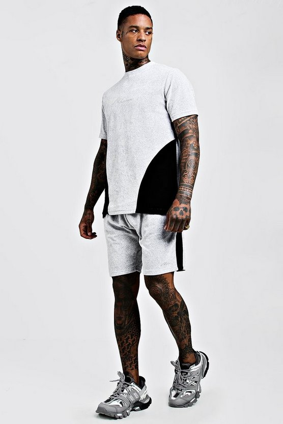 Grey MAN Embroidered Colour Block Velour Short Set