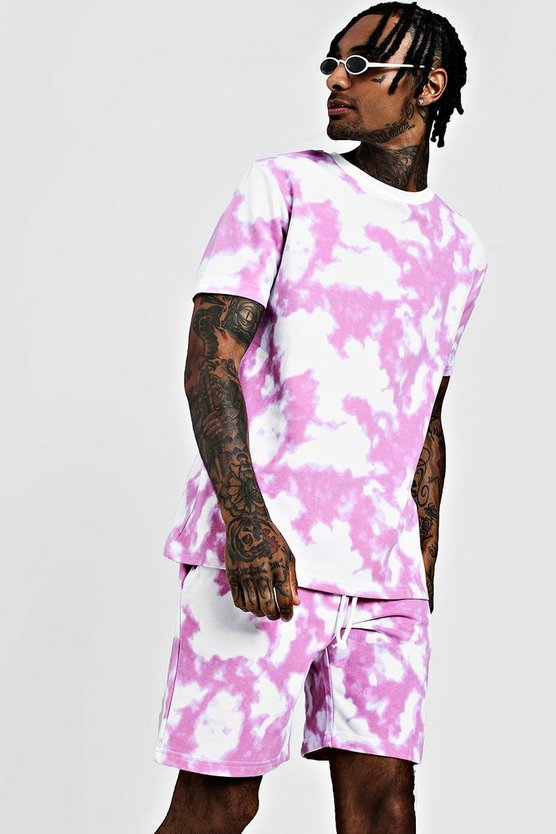 Mens Purple Tie Dye T-Shirt & Short Set