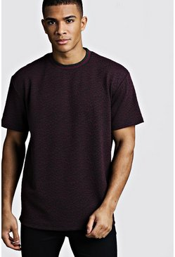 Mens Black Animal Jacquard Step Hem T-Shirt Rib Collar