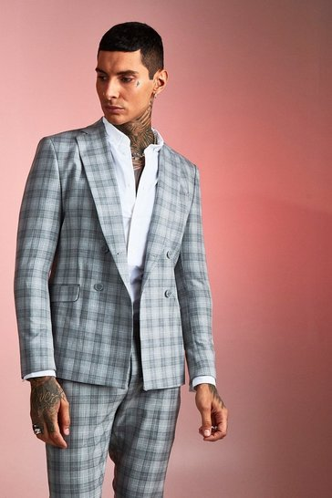 Grey Check Boxy Double Breasted Suit Jacket