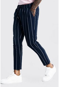 Herr Navy Wide Set Stripe Smart Cropped Jogger Trouser
