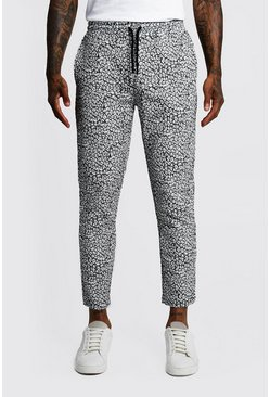 Animal Print Cropped Jogger Trouser