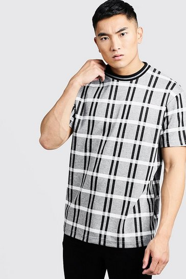 Mens Grey Step Hem Check T-Shirt With Rib Collar