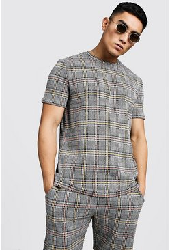 Mens Orange Jacquard Check Regular Fit T-Shirt