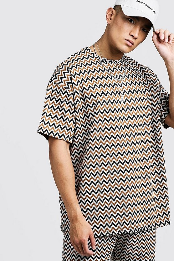 Mens Brown Aztec Oversized Jacquard T-Shirt