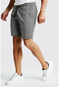 Mens Brown Jacquard Short Length Jersey Shorts