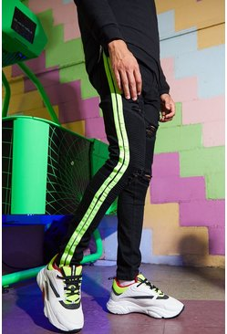 Mens Black Super Skinny Biker Jean With Neon Side Tape