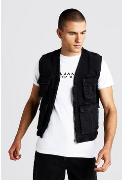 Mens Washed black Denim Utility Vest