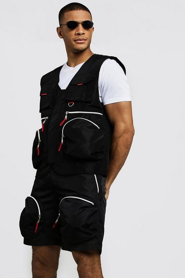 Mens Black Utility Vest With Zip Details