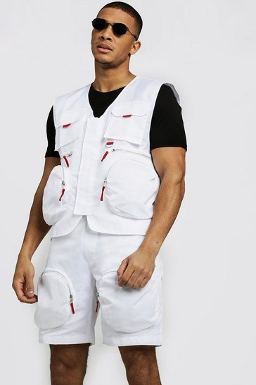 Mens White Utility Vest With Zip Details