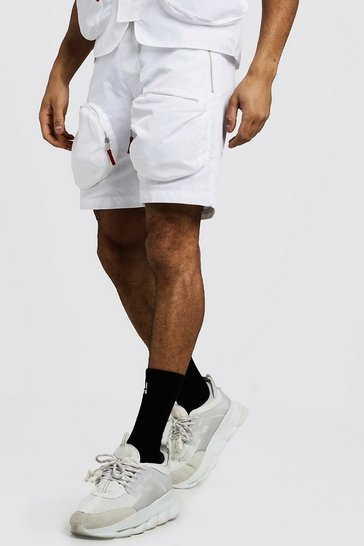 Mens White Utility Shorts With Zip Details