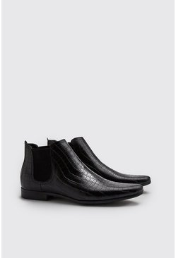 Black Croc Effect Chelsea Boot