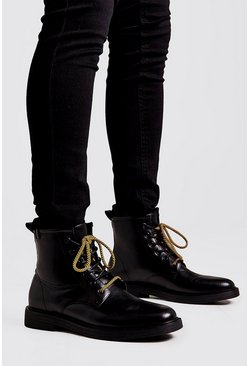 Black Chunky Sole Military Boot