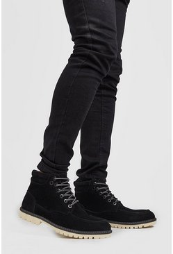 Herr Black Suede Look Hiking Boot