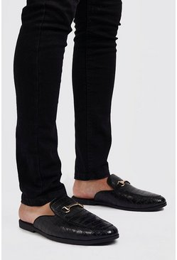 Mens Black Croc Effect Slip On Loafer