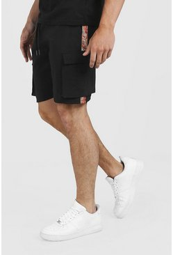 Mens Black Drawstring Cargo Shorts With Side Tape