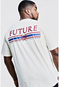 "T-shirt Big & Tall con stampa ""Future"" sul retro, Ecru, Uomo"