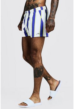 Herr White MAN Vertical Stripe Short Length Swim Short