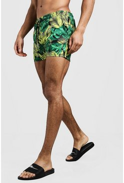 Mens Yellow Palm Print Short Length Swim Shorts