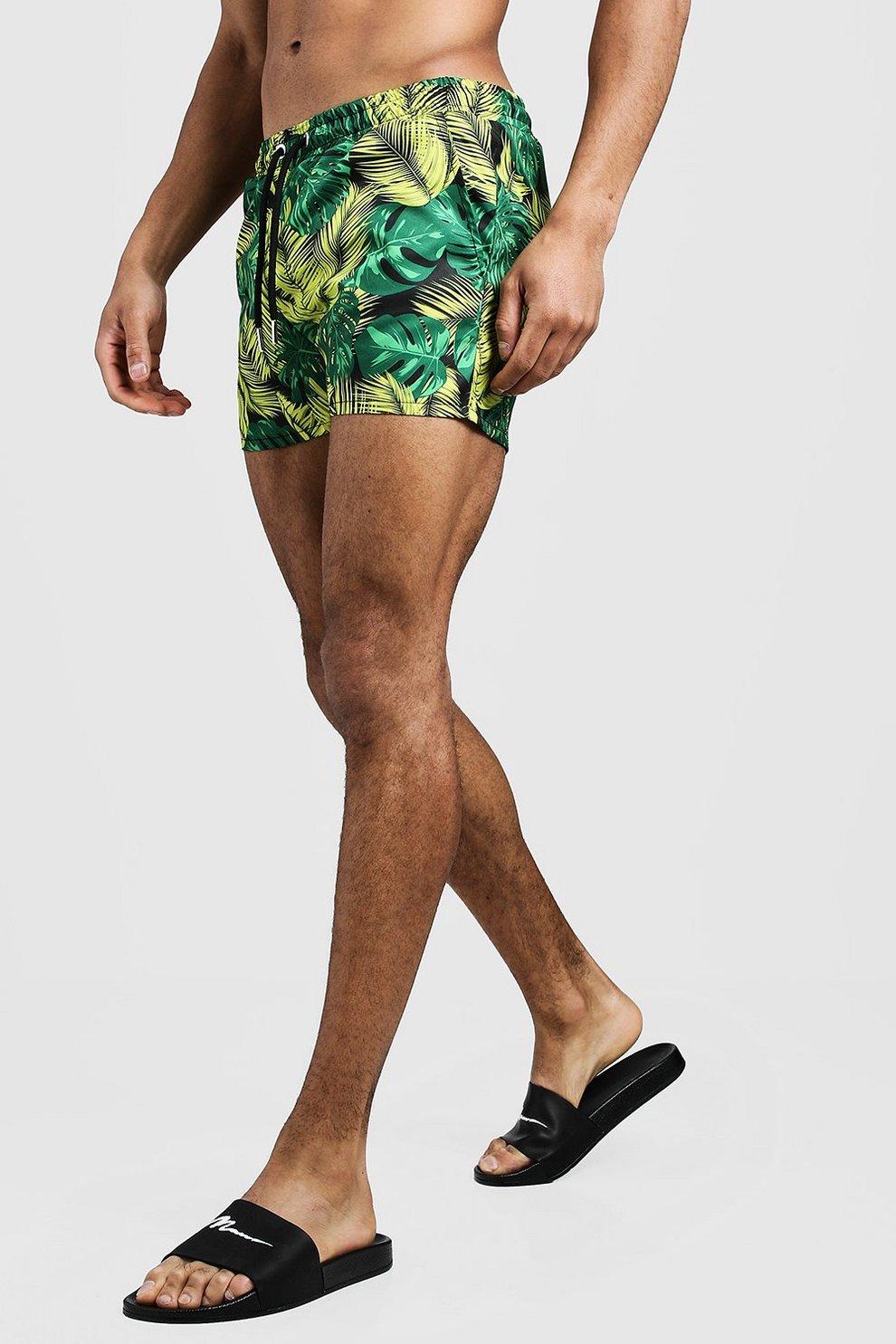 ba4e4740b20 Mens Yellow Palm Print Short Length Swim Shorts