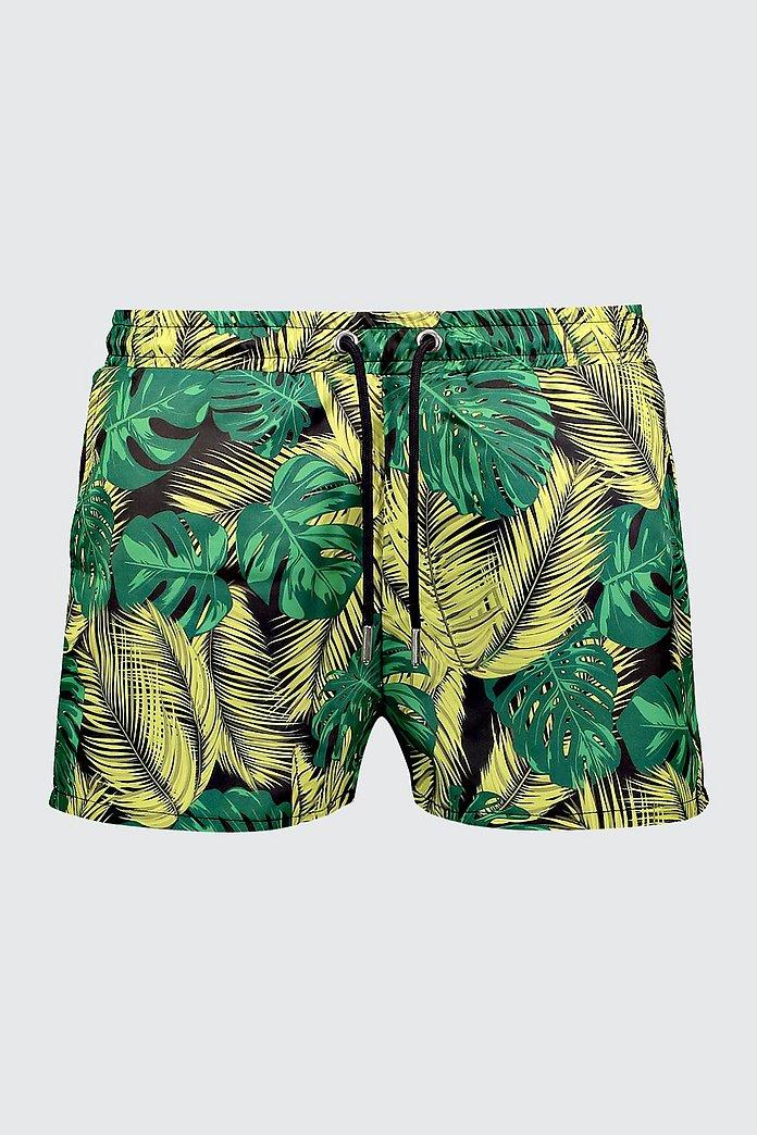3c136ee4827 Palm Print Short Length Swim Shorts   Boohoo