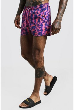 Pink Abstract Animal Print Short Length Swim Short