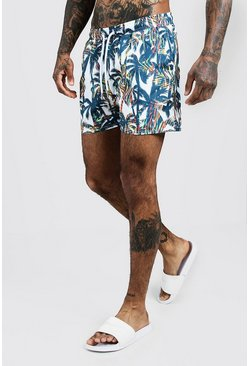 Mens White Palm Print Mid Length Swim Shorts