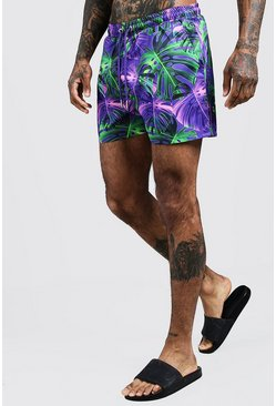 Mens Purple Palm Print Mid Length Swim Short