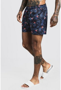 Mens Black Palm Print Mid Length Swim Short