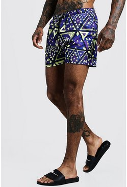 Blue Tile Print Mid Length Swim Short