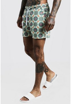 Herr Ecru Tile Print Mid Length Swim Short