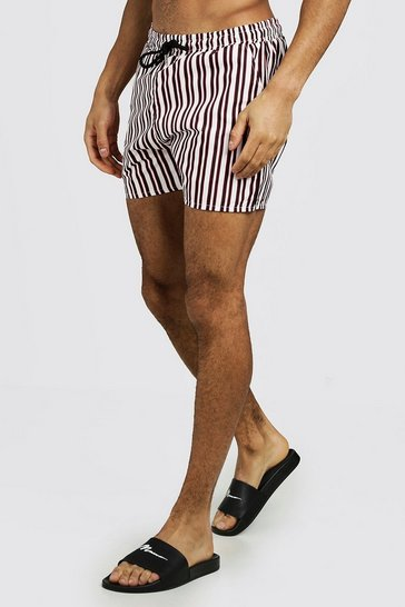 Mens White Vertical Stripe Mid Length Swim Short