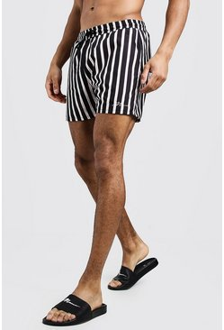 Mens Black MAN Vertical Stripe Mid Length Swim Short