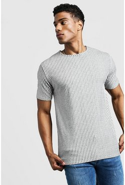 Herr Grey Ribbed Muscle Fit Tee