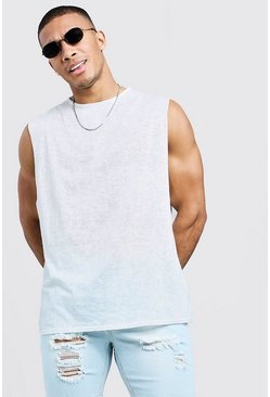 Mens Ecru Burnout Loose Fit Tank