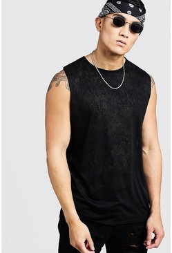 Mens Black Burnout Loose Fit Tank