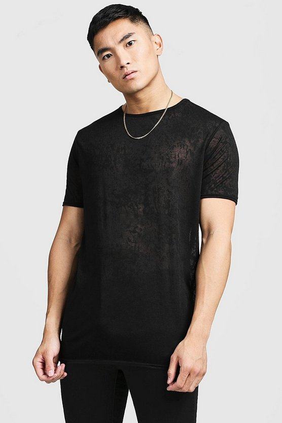 Mens Black Burnout Longline T-Shirt
