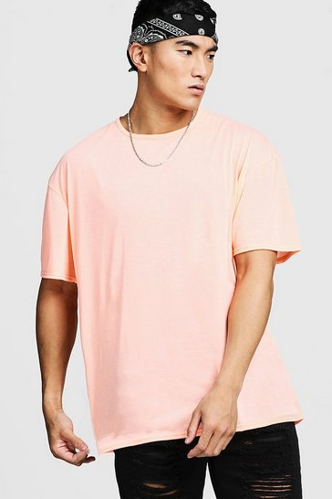 Mens Orange Washed Neon Oversized T-Shirt