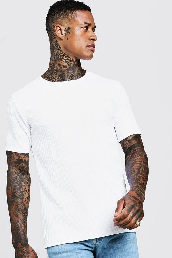 Mens White Textured Muscle Fit T-Shirt