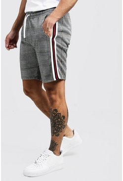 Mens Red Check Jacquard Tape Detail Mid Length Short