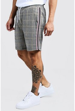 Short mi-long à bande carreaux jacquard, Rose, Homme