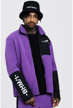 Mens Purple Borg Jacket With Contrast Panels