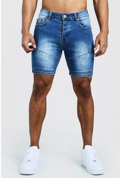 Mens Mid blue Skinny Fit Denim Shorts With Biker Panelling