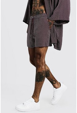Mens Burgundy Geo Print Drawstring Short
