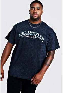 Big & Tall Camiseta con estampado MAN Los Angeles, Negro desteñido, Hombre